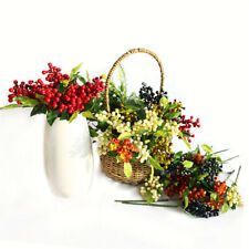 6X Christmas Red Berries Artificial Berry Stems with Pine Needles for Home Decor