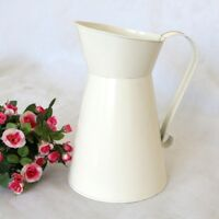1x Vintage Shabby Chic Cream Vase Enamel Pitcher Jug Metal Wedding Home Decor