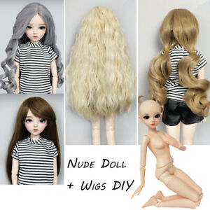 1/3 60cm Nude Doll with Makeup + Wigs Collocation DIY Toys BJD Doll Girl Gifts