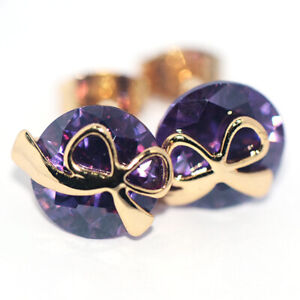Purple Stone Crystal Bow Knot Stud Earrings Gold Jewelry for Womens Female Cute