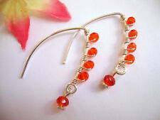 Faceted Orange Crystal Silver Marquise Dangle Earrings