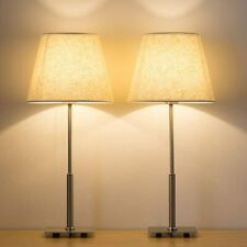 Set of 2 Bedside Lamps Tall Silver Lamp for Bedroom,...