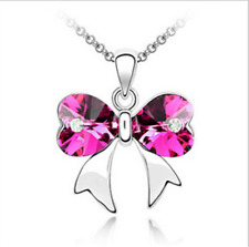 Fashion Womens Butterfly Rose Crystal Rhinestone Silver Chain Pendant Necklace ~