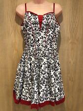 BNWT Joe Browns Dress Size 12 Black White Red Floral Strappy Short Mini Cotton