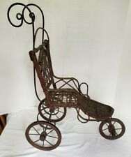 Antique, Vintage Wicker Baby Doll Stroller Ornate, Missing Ceramic Handle, 3 Whe