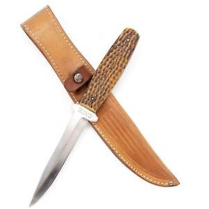 """1940-64 CASE XX Hunting Knife 62-5 """"PIG STICKER"""" Bone Handles w/ Case Sheath"""