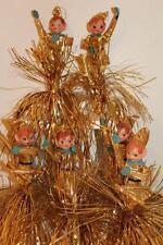 "Vtg Set/6 Gold Lame' Felt/Plastic TINSEL ELF Christmas Tree ORNAMENTS 8-13"" ~(16"