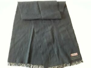 "Givenchy Gentleman Paris New York Vintage Fringed Black Wool Coat Scarf 11 x 48"""