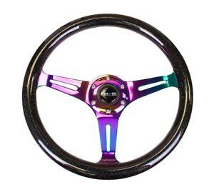 NRG Classic Wood Grain Steering Wheel 350mm Black Sparkle/Galaxy w/3 Neochrome