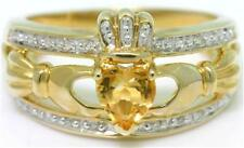 Natural Claddagh Citrine & 20 Diamond 9K 9ct 375 Solid Gold Celtic Irish Ring