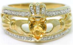 Natural Claddagh Citrine & 20 Diamond 9K 9ct 375 Solid Gold Celtic Irish Ring