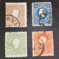 1859 Lombardy Venetia Austria Stamp 3 5 10 15 Soldi Bundle Collection Used