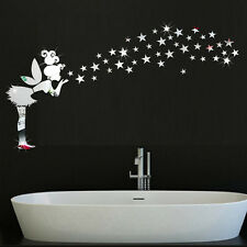 Removeable Angel Magic Fairy &Stars Mirror Acrylic Wall Sticker Decal Decor Art