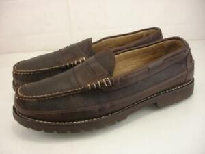 Men's 14 D M L.L. Bean Allagash Bison Brown Leather Penny Loafers Shoes Slip-On