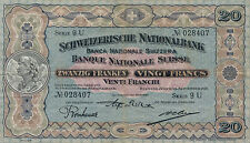Switzerland / Suisse / Schweiz P-33 20 francs 1927 about VF