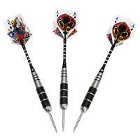 3X Steel Tip Darts Set Stainless Barrel with Aluminium PokerShaft Dart Tool ^^