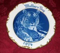 """Dresden Mothers Day Tiger & Cub Plate 1974 Plate  - Gold Trim, 8.5"""" West Germany"""