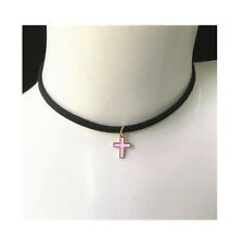 Collar Necklace Gold Chain Women Jewelry New Cross Pendant Pink Charm Choker