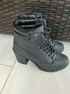 WOMENS ATMOSPHERE BLACK FAUX LEATHER LACE UP HEELED ANKLE BOOTS UK 3 EU 36