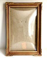 "Picture Frame Convex Bubble Glass 18.5"" Vtg Art Deco Gold Wood Easel Back Hang"
