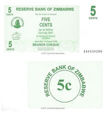 Zimbabwe 5 Cents 2006 P-34 First Prefix 'AA' Banknotes UNC