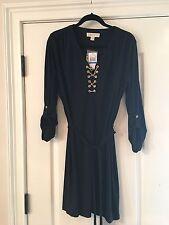 NWT MICHAEL KORS Designer Navy Classic Gold Chain Detailed 3/4 Sleeve Dress XL