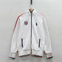 Polo Ralph Lauren Great Britain Track Jacket Size Medium White Union Jack Crest