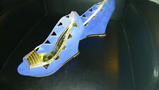 blue and gold wedges from women size 11