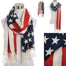 Scarf American Flag Stars Stripes USA Inspired Fringe Oversized Wrap Shawl Pride