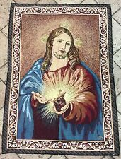 Sacred Heart of Jesus Tapestry 70x50 CM -ITALY- Blessed by Pope upon request