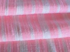 Vintage Pink Striped Fabric Ticking lightweight Open Weave Muslin Cotton
