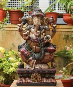 Vintage Ganesha Statue Hindu God Figurine Wooden Sculpture Pooja Puja Idol Rare