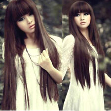 Fashion Dark Brown Long Straight Women Lady Cosplay Party Hair Wig Wigs +Wig Cap