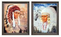 Native American Indian Chief With Wolf And Horse 8x10 Two Set Framed Wall Art