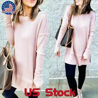 Women Casual Long Sleeve Plain T Shirt Blouse Loose Pullover Tunic Tops Tee Size