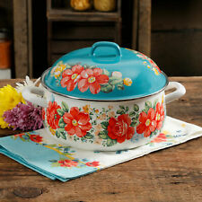 New listing The Pioneer Woman Vintage Floral Enamel On Steel Dutch Oven With Lid  00000E6B
