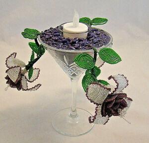 DARK AMETHYST & CRYSTAL FUSCHIA TEA LIGHT HOLDER SET IN MARTINI GLASS (CUT)