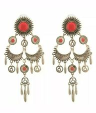 Silver Vintage Style Long Earrings Red Stone Indian Asian