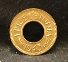 1943 British India (Colonial) pice, George VI, mostly red UNC KM-533 (IN3)  /N59