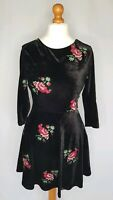 New Look Black Velvet Dress With Floral Embroidery Size UK 12 Scoop Back