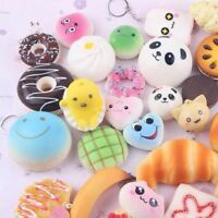 New Assorted Soft Squishy Bread Toys Stress Relief Toys KeyChain - Pack of 10