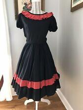 e2fa23222692 Vintage 1950-60 Sears Rockabilly Swing Dress Western Square Dance Dotted  SwIss