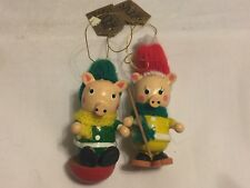 Pair of Jasco wooden holiday hams pig Ornament Christmas Decor