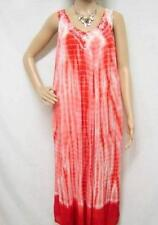 PLUS SIZE BOHO HIPPIE TIE DYE EMBROIDERED OMBRE MAXI DRESS RED 16 18 20 22 24