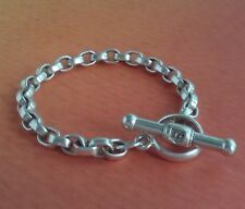 STERLING SILVER BARRY KIESELSTEIN CORD  SQUARED ROLO LINK TOGGLE BRACELET SMALL
