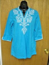 CHICO'S MED. SIZE 1 TURQUOISE EMBROIDERED SEQUIN TUNIC TOP COTTON //B72