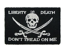 Jolly Roger Liberty or Death Tactical Funny Hook & Loop Morale Tags Patch