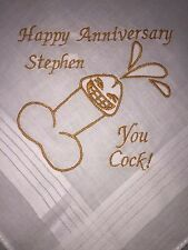 Personalised Anniversary Embroidered Handkerchief - Rude Funny Present Gift