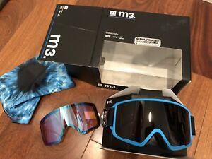 NEW Anon M3 Burton Ski Snow Goggles Sonar Smoke / Blue 2x Zeiss Lens
