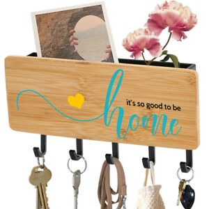 Wooden Key Holder Mount Hooks Entryway Organizer Rack It's So Good To Be Home